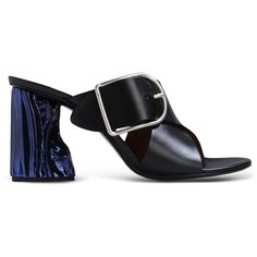 Acne Studios Sandals ($685) ❤ liked on Polyvore featuring shoes, sandals, black, round toe shoes, black sandals, buckle sandals, black buckle sandals and leather shoes
