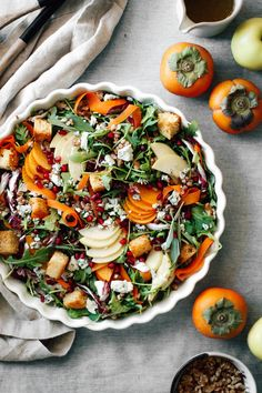 Apple and Persimmon Salad with Chinese 5 Spice Cornbread Croutons - College Housewife Healthy Recipes On A Budget, Healthy Meal Prep, Healthy Dessert Recipes, Veggie Recipes, Sweets Recipes, Winter Dinner Recipes, Fall Dinner, Fall Recipes, Side Dishes Easy