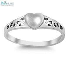 Sideways Romantic Love Heart Valentine's Day Ring Solid 925 Sterling Silver Plain Simple 2mm Band Valentine's Band Ring Size 4-16