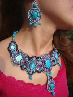 Beadwork.Turquoise  Necklace,Handmade Bib Necklace (Summer).. $180.00, via Etsy.
