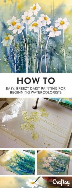 36 Watercolor Tutorials - Watercolour Tutorials Step by Step Painting easy Painting ideas Painting water Painting tutorials Painting landscape Painting abstract Watercolor Painting Painting & Drawing, Daisy Painting, Painting Lessons, Painting Flowers, Drawing Flowers, Painting Tips, How To Paint Flowers, Matte Painting, Drawing Tips