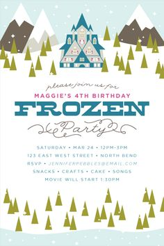 Studio Pebbles | Frozen Party Invitation by Jennifer Pebbles Pretty sure a frozen party is in my future
