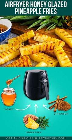 Welcome to Air fryer Honey Glazed Pineapple Fries recipe. Delicious fresh pineapple cooked to perfection in the Airfryer. Seasoned with cinnamon and honey for… Air Fryer Recipes Low Carb, Air Fryer Dinner Recipes, Recipes Dinner, Actifry Recipes, Cooks Air Fryer, Air Fried Food, Air Frier Recipes, Cooking Recipes, Healthy Recipes