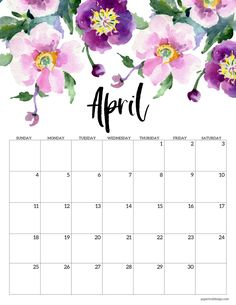April 2021 Floral Calendar page with purple flowers Calendar Wallpaper, Print Calendar, Kids Calendar, Calendar Pages, 2021 Calendar, Yearly Calendar, December Calendar, Blank Calendar, Calendar Printing