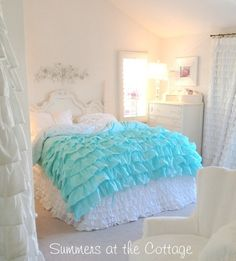 Summers Cottage Ruffled Bedding | SHABBY COTTAGE CHIC LAYERS OF DREAMY AQUA TEAL PETTICOAT RUFFLES DUVET ...
