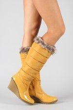 Bamboo Marlyn-05 Fur Puffer Wedge Rain Boot..WANT THESE