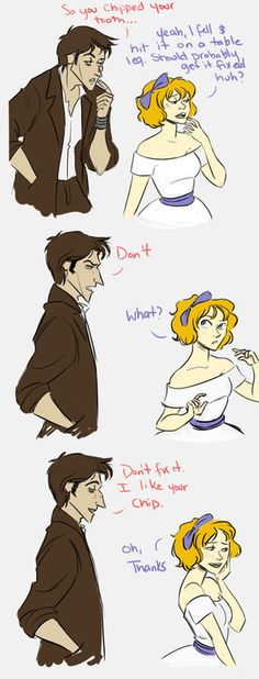 The human personifications of the chipped cup and Rumple's dagger