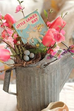 ❥ Easter vignette in a zinc watering can