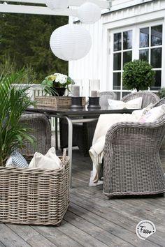 Wicker chair, shutters, Artwood tray, basket, lavender, buxwood, veranda, deck, New England / rustic style.