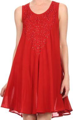 Sakkas Alechia Mid Length Tank Top Sleeveless Embroidered Caftan Dress / Cover…