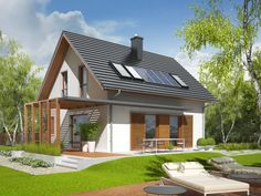 Projekt domu AC Lea (wersja B) CE - DOM - gotowy koszt budowy Family House Plans, Tiny House Plans, Facade House, House Roof, Japan Modern House, Simple House Design, House In Nature, Cottage Exterior, Eco Friendly House