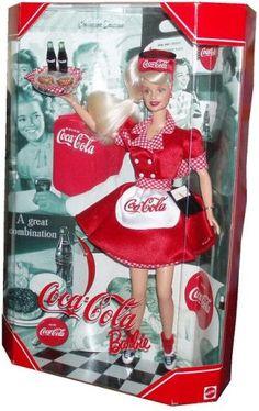 "1999 Barbie Collectibles - Coca-Cola Babie 1999 Coca Cola Barbie Collector Edition "" First in the COCA COLA Barbie Series"" as a waitress. Doll Clothes Barbie, Barbie I, Barbie World, Barbie And Ken, Vintage Barbie, Vintage Toys, Coca Cola Decor, Robots For Kids, Bobe"