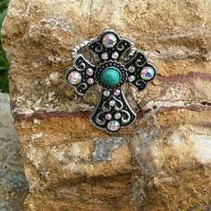 Cross Ring Stretch ring with AB crystals and faux turquoise center Boutique Jewelry Rings
