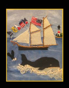 """Buy Nantucket Whalers, a Fabric on by Cynthia Gallant-Simpson from United States. It portrays: Sailboat, relevant to: sailing, ships, whales, whaling, americana, flags, lighthouse """"Woolie"""" aka """"Wool Painting. Many exquisite needlework details added to painted background and wool or felt applique. In the tradition of nineteenth century British sailors wool work aboard ship, created to pass the long boring hours in between battles or whale sightings. This art form has become rare and the…"""