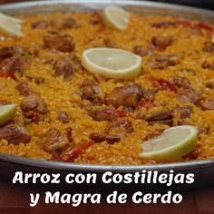 Arroz con Costillejas y Magra de Cerdo – Rice with Spareribs & Pork - watch the video Cooked Sushi Recipes, Tapas Recipes, Cooking Recipes, Healthy Recipes, Murcia, Best Spanish Food, Spanish Meals, Paella, Healthy Sushi