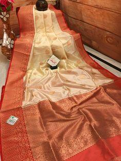 Cream and Deep Orange Color Pure Katan Banarasi Saree Kanjivaram Sarees Silk, Banarasi Sarees, Saree Shopping, Kinds Of Fabric, Buy Sarees Online, Wedding Fabric, Beautiful Saree, Saree Collection, Indian Sarees