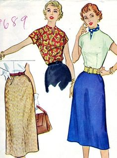 Vintage 1954 McCall's 9689 Sewing Pattern Misses' Skirt and Blouse Size 14 Bust 32 Clothing Patterns, Dress Patterns, Sewing Patterns, 1950s Skirt, Blouse And Skirt, 1940s Fashion, Two Piece Dress, Easy Wear, Office Outfits