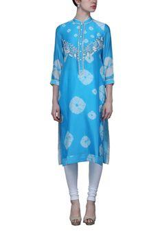 Aqua blue shibori embellished tunic