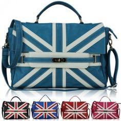 Womens Large Union Jack Leather Style Tote Satchel Laptop Bag Briefcase Handbag