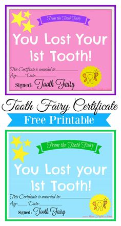 When your little one loses their first tooth it's a big deal! Print this Free tooth fairy certificate as a special keepsake for this milestone!