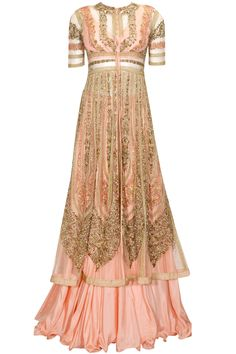 Peach zardozi and bead embroidered lehenga set available only at Pernia's Pop Up Shop.