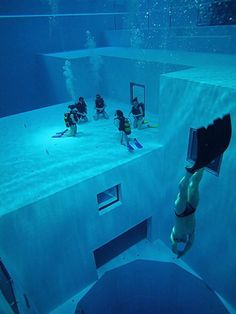 Nemo 33 is the deepest indoor swimming pool in the world.The pool is located in Brussels, Belgium. Its maximum depth is 34.5 metres (113 ft). It contains 2.78787 million litres of non-chlorinated, highly filtered spring water maintained at 30 °C (86 °F) and holds several simulated underwater caves at the 10 metres (33 ft) depth level.