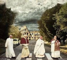 Four Popes ! Love this! Pope walk Abbey Road style! Pope Francis, Pope Benedict XIII, Saint Pope John Paul II and Saint Pope John XXIII