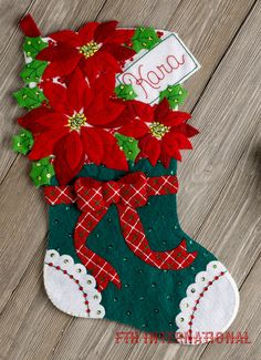 Christmas Poinsettia Bucilla Felt Stocking Kit - FTH International Sales Ltd. Felt Stocking Kit, Felt Christmas Stockings, Christmas Stocking Holders, Felt Christmas Decorations, Christmas Poinsettia, Christmas Crafts, Christmas Ornaments, Christmas Flowers, All Things Christmas