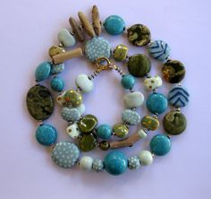 Beaded Necklace Driftwood Kazuri Beads Semi by lizbriggsdesigns, $72.00