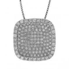 0.60ct 14k White Gold Diamond Pave Pendant Necklace - allurez.com Diamond Pendant Necklace, White Gold Diamonds, Fine Jewelry, Wedding Day, Anniversary, Pendants, Womens Fashion, How To Make, Gifts