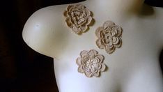 3 Crocheted Flower Appliques in Natural Cotton by MaryNotMartha, $2.75