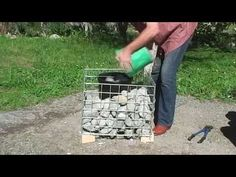 LOW COST Stone gabion baskets for planters Garden landscaping rock wall seats, materials Gabions for California waterfalls ponds fences Landscape gardens United States of America Gabion Box, Gabion Stone, Gabion Retaining Wall, Gabion Baskets, Diy Planters, Planter Boxes, Garden Planters, Herb Garden, Fence Landscaping