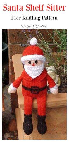 Christmas Santa Free knitting pattern - Baby Stuff and Crafts Knitting For Charity, Baby Hats Knitting, Knitting Patterns Free, Free Knitting, Knit Patterns, Amigurumi Patterns, Doll Patterns, Free Pattern, Yarn Crafts