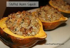 Stuffed Acorn Squash Recipe- make vegetarian with spinach..