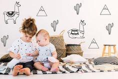 Cactus Personnalisé Nom Style Scandinave Triangle Kids Wall Art Autocollant Décalque