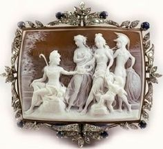 """Giovanni Apa Cameos -- The piece shown above is a shell cameo brooch representing """"The Judgement of Paris"""" carved by Prof. Noto It has a white gold frame with diamonds and sapphire and sells for euros. Cameo Ring, Cameo Jewelry, Antique Jewelry, Vintage Jewelry, Jewelry Art, Judgement Of Paris, Mourning Jewelry, Art Thou, Art Nouveau"""