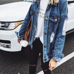 Distressed denim obsession  @vickysstyle (Shop link in bio)