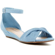 Breckelle's Selfie Wedge Sandal ($15) ❤ liked on Polyvore featuring shoes, sandals, blue denim, ankle strap sandals, denim wedge shoes, ankle tie sandals, blue shoes and blue denim sandals