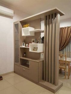 Wooden door interior furniture Best Ideas - Lilly is Love Room Partition Wall, Living Room Partition Design, Living Room Divider, Room Partition Designs, Living Room Tv Unit Designs, Room Door Design, Home Room Design, Home Interior Design, House Design