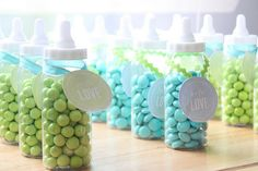 #DIY #baby #babies #babyshower #favors #babyshowerfavors #boy #girl #colorful #vibrant #bold #modern #love #flowers #blue #turquoise #aqua #chartreuse #green #housecandy #bottles #jellybeans #candy #cute