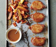 Find the recipe for Cider-Dijon Pork Chops with Roasted Sweet Potatoes and Apples and other pork recipes at Epicurious.com