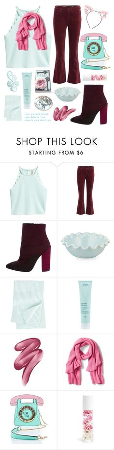 """""""Call me..."""" by krgood7 ❤ liked on Polyvore featuring AG Adriano Goldschmied, Giambattista Valli, Magenta, Annie Selke Luxe, Aveda, Clinique, 3 AM Imports, Blossom and Lulu in the Sky"""