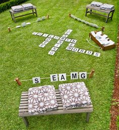 Outdoor DIY Scrabble  View Quiet Nature's outdoor living spaces: http://www.quietnature.ca/outdoor-living-spaces/