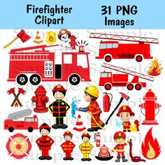Firefighter Digital Clipart INSTANT DOWLOAD Fireman by BridalBust