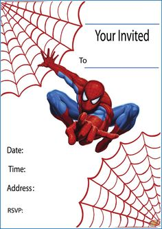 free printable spiderman party invitations on www.thepartywebsite, Invitation templates