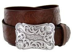 Xanthe Women's Western Full Grain Leather Belt Brown - Purses.com