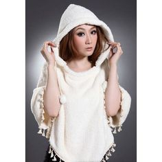 Fashion Sweet Style Tassels Design Dolman Sleeves Women's Hooded Woolen Cape, WHITE, ONE SIZE in Capes | DressLily.com