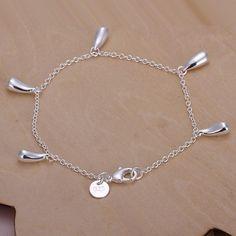 Fashion Women Lady Elegant Beads Grape Chain Bracelet Jewelry Silver Plated FA