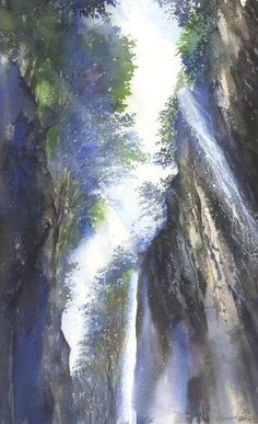 Watersplash at Takachiho Gorge - Kanta Harusaki - watercolor