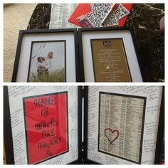 Going away gift for friends! I found the phonebook page with their address and framed it as a gift. Around the edges I wrote thank yous. :)